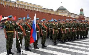 caschi blu, orgoglio, Marines, Russia, soldati, Aerotrasportato, Piazza Rossa, bandiera