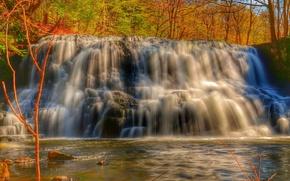 河, 瀑布, 树, 秋, 性质