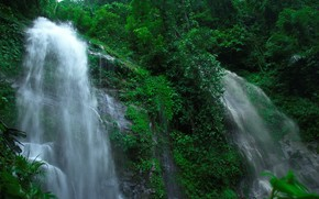 rock, waterfalls, trees, nature