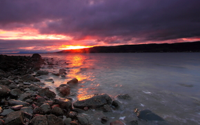 日落, 湖, 岸, 石头, 景观