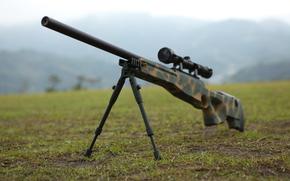 сошки, оружие, винтовка, снайперская, маскировочный окрас, оптика