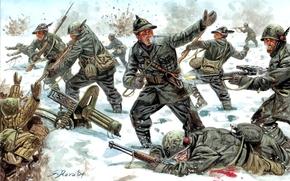 зима, Советско-финская война, солдаты, оружие, рисунок, арт, снег, атака, бой, обмундирование