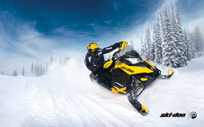 yellow, snowmobile, Sport, snow, forest