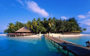sand, sea, Palms, bridge, island, beach, Maldives, lantern, bungalow, sky