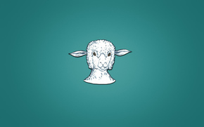 minimalism, lamb, head, animal, sheep, bluish background