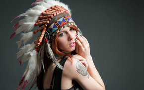 face, background, plumage, girl, tattoo, headdress, view