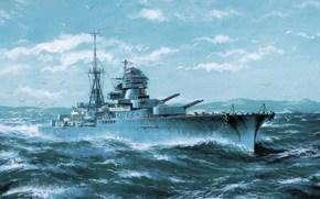"""mare, Marina Sovietica, Altri macchinari e attrezzature, GABBIANI, onde, puntellare, disegno, incrociatore leggero """"Kerch"""", spedire, Art, cielo"""