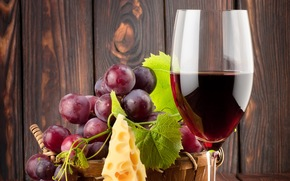 red, leaves, wine, grapes, wineglass, cheese