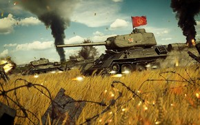 РККА, советский средний танк периода Великой Отечественной войны, война, знамя, атака