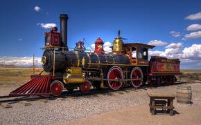 паровоз, старинный, Юта, США, пустыня, железная дорога, Другая техника