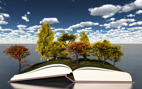 trees, foliage, autumn, sky, open book, clouds