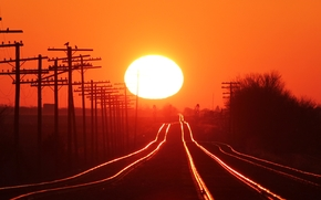 ferrovia, RAILS, alberi, cielo, sole, Pilastri, tramonto