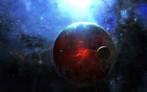 Satelliten, Weltraum, Risse, Fehler, Planeten, Stern