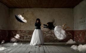 nubes, fantasía, paraguas, chica, Arte, habitación