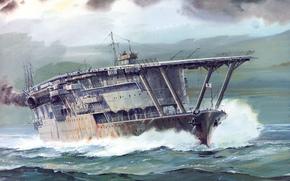 portaerei, onde, mare, Akagi, Navy Giappone, Art, disegno
