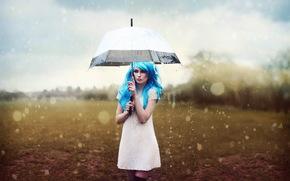 chica, paraguas, lluvia