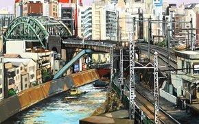 río, puente, ferrocarril, ciudad