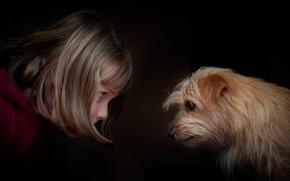 girl, dog, eye to eye