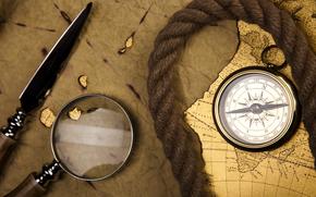 mappa, lente di ingrandimento, bussola, corda, stiletto