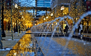 building, holidays, lights, USA, city, Garlands, bokeh, trees, evening, winter, Utah, FOUNTAIN