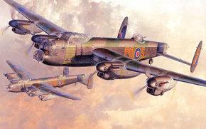 четырехмоторные, самолёты, облака, британские, бомбардировщики, арт, небо, рисунок, солнце