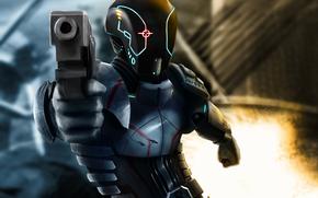 броня, пистолет, арт, фантастика, огонь, фон, оружие, шлем