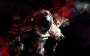 космонавт, пятна, стекло