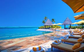 piscina, paraguas, Caballete-cama, océano, cielo, mar, amortiguar, Maldivas, recreación, bungalow