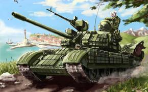 soldato, bandiera, pistola, serbatoio, Russia, città