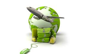 мышка, земля, чемодан, путешествие, сумка, самолет
