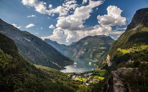 valle, bay, Norvegia, nave da crociera, Montagne