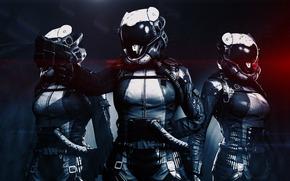 шлем, оружие, пистолет, фантастика, костюм, девушки