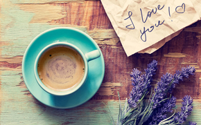 recognition, foam, table, mug, Flowers, drink, letter, lavender, saucer, coffee