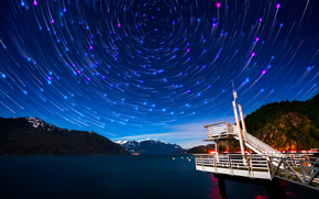 bay, Vancouver, Star, Mountains, night, Canada, PEARCE