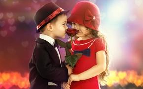 дети, девочка, мальчик, романтика, настроение, цветок, роза