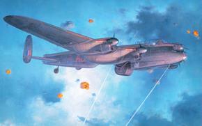 шапки разрывов, четырёхмоторный, рисунок, ВВС Великобритании, арт, самолёт, небо, бомбардировщик