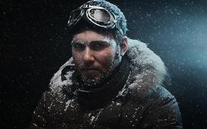 парень, снег, холод