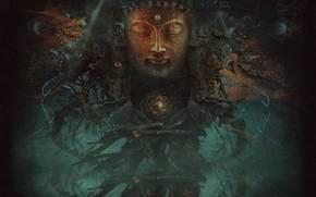 quantum enigma, face, water