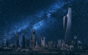 city nightlife, building, starry sky, Kuwait