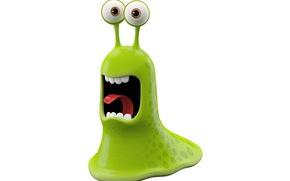bright smiling monster on white background, green monster slug, joy