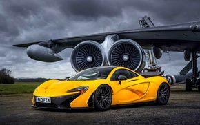 Самолет, Машина, Желтый, Суперкар, Макларен, Аэродром, Суперкары