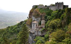 Norman Castello di Venere, View XIX century Torretta Pepoli, Erice in Sicily