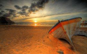 船, 波浪, 日落, 海滩, 海, 云, 性质, 天空