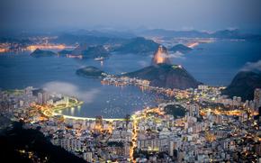 lights, home, Mountains, sea, building, evening, Rio de Janeiro, coast, Brazil