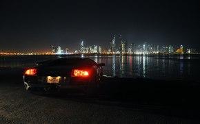 габариты, фары, Lamborghini, Дубай, огни города, красивый вид, ночь, Ламборджини, Мурселаго, ОАЭ