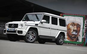 graffiti, wall, Mercedes, white, jeep, Mercedes