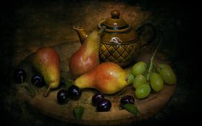 груши, черешня, виноград, чайник, натюрморт