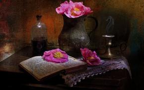 brocca, Fiori, Papaveri, libro, ancora vita