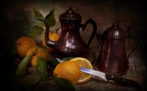 pitcher, orange, knife, still life, style, Vintage