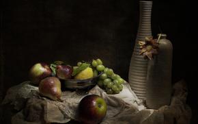 still life, retro, Vintage, fruit, vase